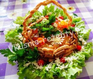 салат с языком и грибами фото