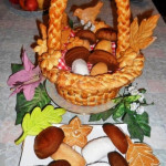 корзина с грибами из теста фото