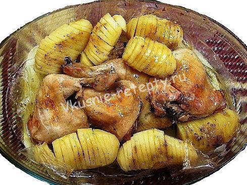 курица с картошкой в рукаве фото