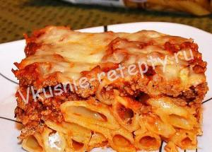 макаронная запеканка с мясом фото