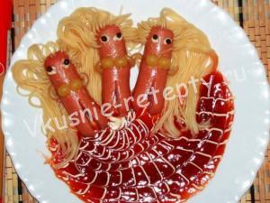 сосиски с макаронами фото