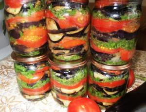баклажаны консервированные с помидорами фото