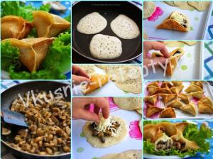 блинчики с грибами и сыром фото