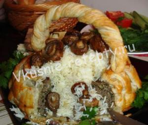 корзина из слоеного теста Лукошко с грибами рецепт с фото