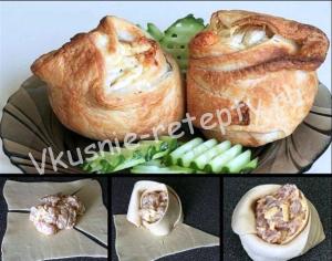 пирожки слоеные с курицей и сыром фото