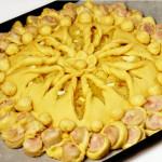 плетеный пирог с колбасой фото