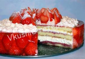 клубничный торт рецепт с фото