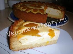 творожно-песочный пирог с персиками фото