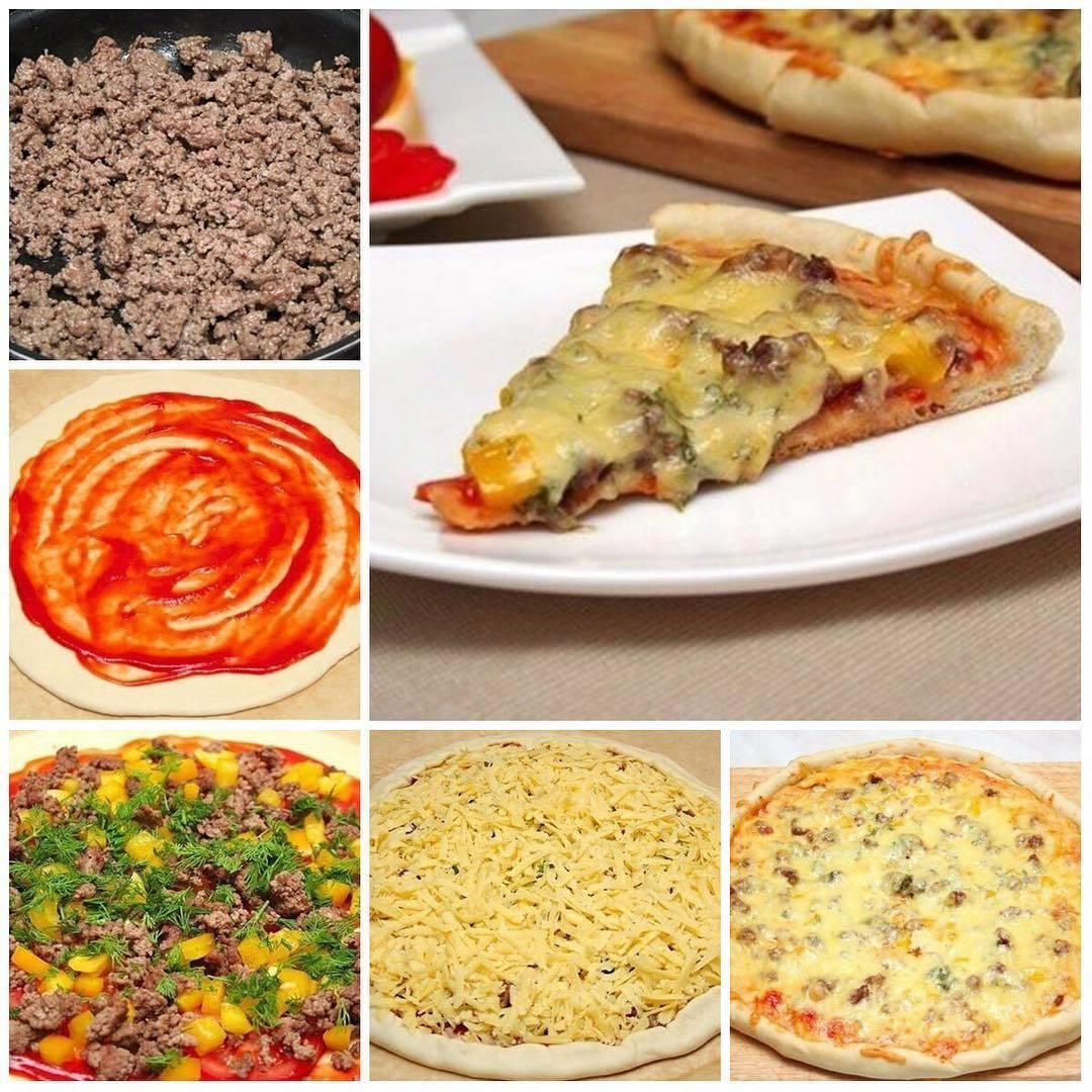 Пицца с фаршем «По-домашнему» Простой домашний рецепт!